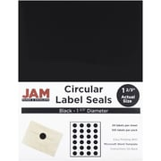 "JAM Paper® Round Circle Label Sticker Seals, 1.67"" diameter, Black, 120/Pack (302229594)"