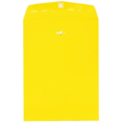 JAM Paper® 9 x 12 Open End Catalog Envelopes with Clasp Closure, Brite Hue Yellow Recycled, 10/pack (92953B)