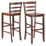 Winsome Wood Ladder Back Bar Stool, Antique Walnut