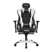 Akracing™ Masters Series Pro Pleather Gaming Chair, Black/White, 4D Adjustable (AK-PRO-WT)