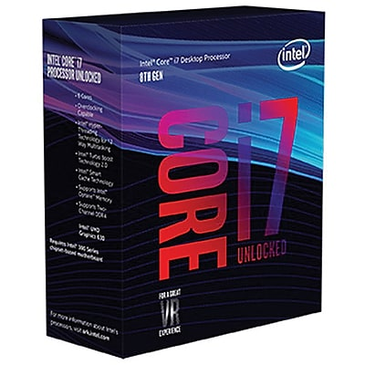 Intel® Core i7-8700K Desktop Processor, 3.7 GHz, Hexa-Core, 12MB Cache (BX80684I78700K)