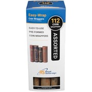 """Royal Sovereign® Easy-Wrap Preformed Coin Wrapper, 8 1/2"""" x 3 3/4"""" x 3 3/4"""", 112 (Assortment)/Pack, FSW-112A"""