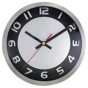 "TimeKeeper 8 3/4"" x 8 3/4"" x 1 1/2"" Silver/Black Analog Round Wall Clock (2253SB)"