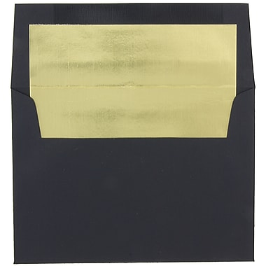 JAM Paper® A7 Foil Lined Envelopes, 5.25 x 7.25, Black Linen with Gold Lining, 100/Pack (3243679g)