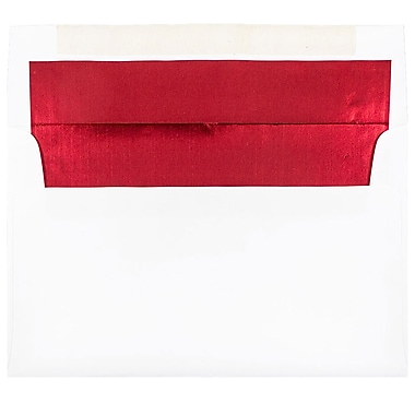 JAM Paper® A10 Foil Lined Envelopes, 6 x 9.5, White with Red Lining, 50/Pack (900905662I)