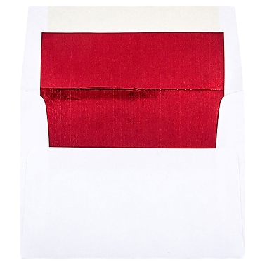 JAM Paper® A2 Foil Lined Envelopes, 4.38 x 5.75, White with Red Lining, 250/Pack (72158H)