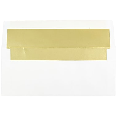 JAM Paper® #10 Foil Lined Business Envelopes, 4 1/8 x 9.5, White with Gold Lining, 100/Pack (95165g)