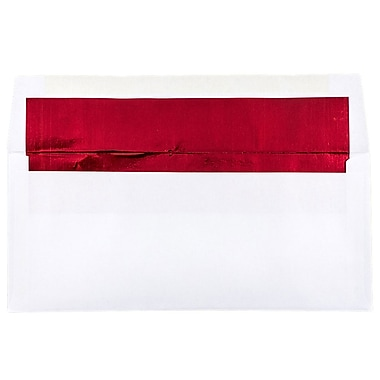 JAM Paper® #10 Foil Lined Envelopes, 4 1/8 x 9.5, White with Red Lining, 500/Pack (95140H)