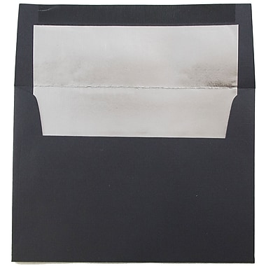 JAM Paper® A6 Foil Lined Envelopes, 4.75 x 6.5, Black Linen Recycled with Silver Lining, 100/Pack (3243681g)