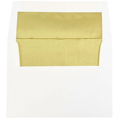 JAM Paper® A2 Foil Lined Envelopes, 4.38 x 5.75, White with Gold Lining, 100/Pack (79507g)