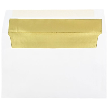 JAM Paper® A10 Foil Lined Envelopes, 6 x 9.5, White with Gold Lining, 100/Pack (900905660g)
