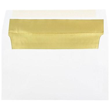 JAM Paper Enveloppes A10 en papier blanc à revers rouge métallique, 250/paquet