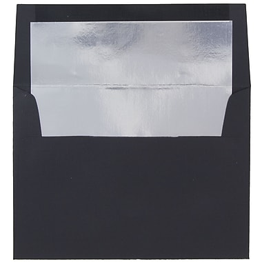 JAM Paper® A7 Foil Lined Envelopes, 5.25 x 7.25, Black Linen with Silver Lining, 100/Pack (3243688g)