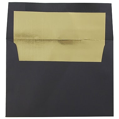 JAM Paper® A6 Foil Lined Envelopes, 4.75 x 6.5, Black Linen Recycled with Gold Lining, 1000/Pack (03243678B)