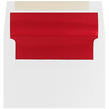 JAM Paper A7 Foil Lined Envelopes, 5.25 x 7.25, White with Red Lining, 100/Pack (83065g)
