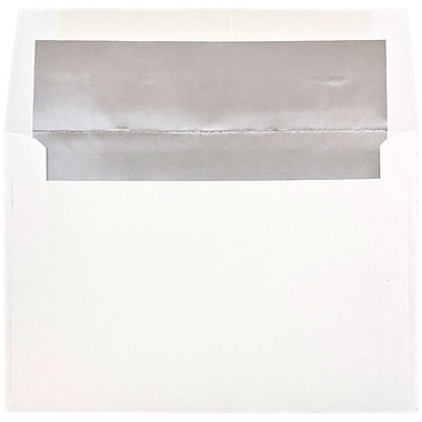 JAM Paper® A8 Foil Lined Envelopes, 5.5 x 8.125, White with Silver Lining, 100/Pack (83123g)