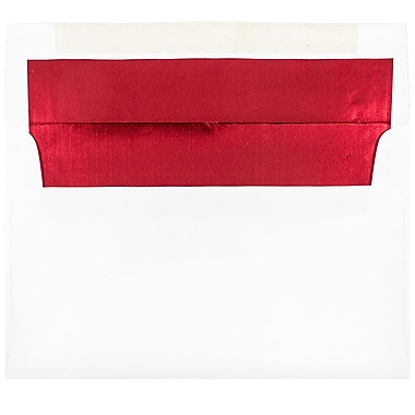 JAM Paper A9 Foil Lined Envelopes, 5.75 x 8.75, White with Red Lining, 100/Pack (76798g)