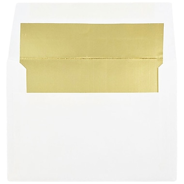 JAM Paper® A6 Foil Lined Envelopes, 4.75 x 6.5, White with Gold Lining, 100/Pack (82851g)