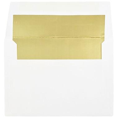 JAM PaperMD – Enveloppes avec fini métallique et fermeture gommée, 4 3/4 x 6 1/2 po, blanc avec intérieur doré, paq./100