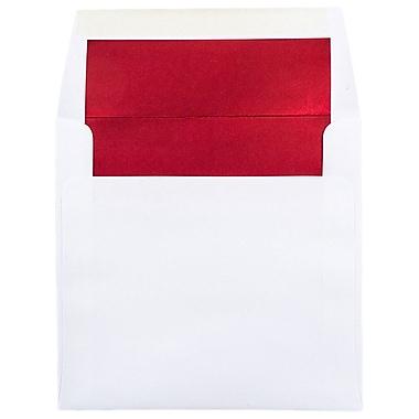JAM PaperMD – Enveloppes carrées avec revêtement intérieur et fermeture gommée, 6 x 6 po, blanc avec intérieur rouge, paq./100
