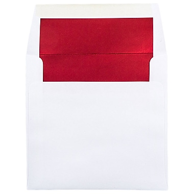 JAM Paper 8.5 x 8.5 Square Foil Lined Envelopes, White with Red Lining, 100/Pack (3244693g)