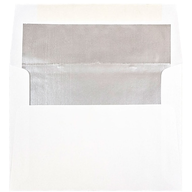 JAM Paper® A6 Invitation Envelopes, 4.75 x 6.5, White with Silver Lining, 100/Pack (82927g)