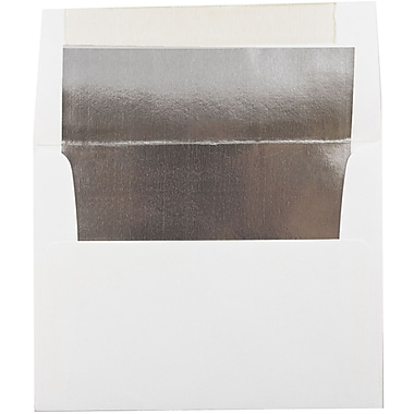 JAM Paper® A2 Invitation Envelopes, 4.38 x 5.75, White with Silver Lining, 100/Pack (79415g)