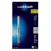uni-ball Vision Rollerball Pens, Fine Point, Black Ink, 36/Pack (1921066)