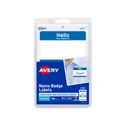 "Avery® Removable Print or Write Name Badge Labels, ""HELLO"", Blue, 2-11/32x3-3/8"", 100 Labels"