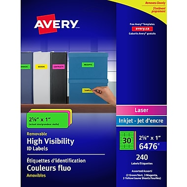 Avery® Assorted Neon Laser/Inkjet Removable Multipurpose Labels, 2-5/8