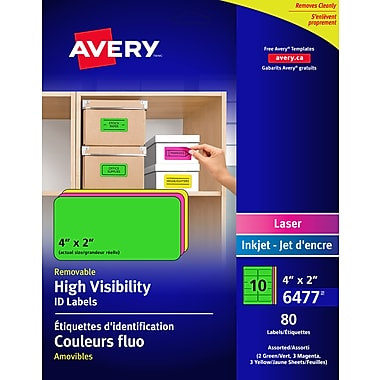 Avery Assorted Neon Laser/Inkjet Removable Multipurpose Labels, 2