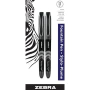 Zebra Disposable Fountain Pen, Black, 2/Pack