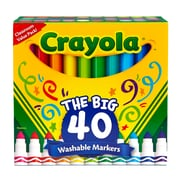 Crayola Wash Broad Line Markers, Assorted Colors, 40/Pack (BIN587858)