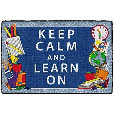 Flagship Carpets Keep Calm & Learn On Rug, Blue, 2' x 3' (CE347-08W)