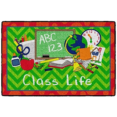 Flagship Carpets Class Life Rug, Green/Red, 2' x 3' (CE361-08W)