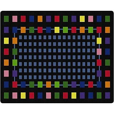 Flagship Carpets Rebordered Squares Rug, Black, 10.9' x 13.2' (FE157-58A)