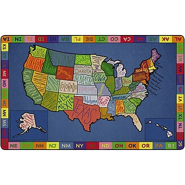 Flagship Carpets My America Doodle Map 7'6X12 Rug, 7.6' x 12' (FE262-44A)
