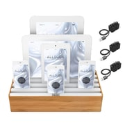 Alldock Large Shell with Top, 6 x USB 2.4 Docking Station, Bamboo White + 3 x MFi OHD Cables