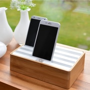 Alldock Medium Shell with Top, 4 x 2.4 USB Docking Station, Bamboo White