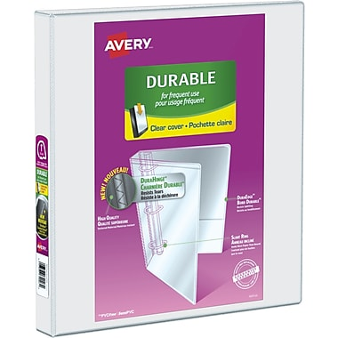 avery durable view binder 1 sized slant d rings white 34002