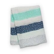 Lulujo Bamboo Muslin Swaddle Blanket, Grey Spotted Stripe