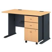 Bush Business Furniture Cubix 48W Desk w/ Mobile File Cabinet, Beech (SRA025BESU)