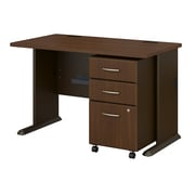 Bush Business Furniture Cubix 48W Desk with Mobile File Cabinet, Sienna Walnut (SRA025WASU)