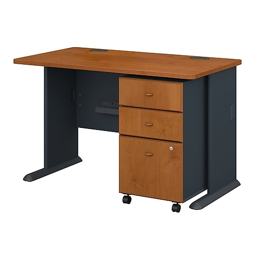 "Bush® Cubix® Collection in Natural Cherry Finish; 48""W Desk with 3-Drawer Mobile Pedestal"