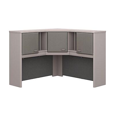Bush Business Furniture Cubix 48W Corner Hutch, Pewter, Installed (WC14567PKFA)