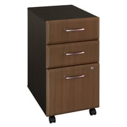 Bush Business Furniture Cubix 3 Drawer Mobile File Cabinet, Sienna Walnut (WC25553P)