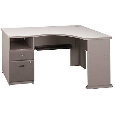 Bush Business Furniture Cubix Corner Desk with 2 Drawer Pedestal, Pewter (WC14528PA)