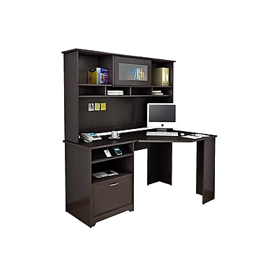 Bush Furniture Cabot Corner Desk with Hutch, Espresso Oak (CAB008EPO)