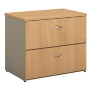 "Bush Business Furniture Cubix 36""W 2 Drawer Lateral File Cabinet, Light Oak (WC64354P)"