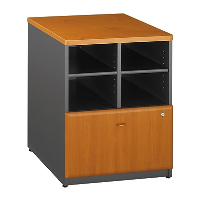 Bush Business Furniture Cubix 24W Storage Cabinet, Natural Cherry, Installed (WC57423PFA)